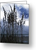 Sea Oats Digital Art Greeting Cards - Sea Oats on Tybee Greeting Card by Leslie Revels Andrews