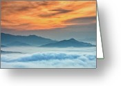 Mountain Range Greeting Cards - Sea Of Clouds By Sunrise Greeting Card by SJ. Kim
