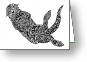 Creative Drawings Greeting Cards - Sea Otter Greeting Card by Carol Lynne