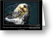 Laughing Greeting Cards - Sea otter motivational  Greeting Card by Fabrizio Troiani