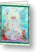 World Healer Greeting Cards - Sea Priestess with Scroll Border Greeting Card by Joyce Jackson