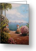 Banana Tree Greeting Cards - Sea Scape 1 Greeting Card by Anh T Chau