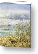 Boats Greeting Cards - Sea Shore Greeting Card by Irina Sztukowski