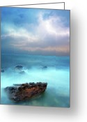 Storm Digital Art Greeting Cards - Sea Sky and Stone Greeting Card by Michael Greenaway