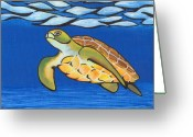 Sea Turtle Greeting Cards - Sea Turtle Greeting Card by Adam Johnson