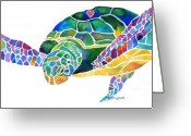 Greens Greeting Cards - Sea Turtle Celebration 4 Prints Only Greeting Card by Jo Lynch