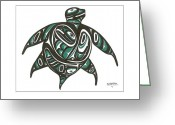 Pole Drawings Greeting Cards - Sea Turtle green Greeting Card by Speakthunder Berry