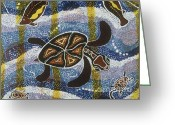 Aboriginal Art Painting Greeting Cards - Sea Turtle Greeting Card by Pat Saunders-White