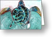 Sea Turtles Greeting Cards - Sea Turtle Three Greeting Card by J Vincent Scarpace