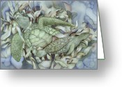 Sea Turtles Greeting Cards - Sea turtles mum and babe Greeting Card by Liduine Bekman