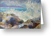 Sea Wall Greeting Cards - Sea Wall Greeting Card by Peggy Wilson