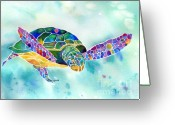 Artist Canvas Painting Greeting Cards - Sea Weed Sea Turtle  Greeting Card by Jo Lynch