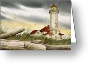 Pacific Northwest Lighthouse Framed Print Greeting Cards - Seafarers Sentinel Greeting Card by James Williamson