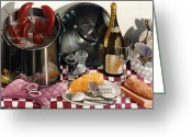 Still Life Greeting Cards - SEAFOOD SERENADE 1996  Skewed perspective series 1991 - 2000 Greeting Card by Larry Preston