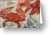 Louisiana Seafood Greeting Cards - Seafood Special Edition Greeting Card by JoAnn Wheeler