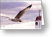 Riverwalk Greeting Cards - Seagull and Clock Tower Greeting Card by Bob Orsillo