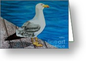 Puerto Rico Pastels Greeting Cards - Seagull on the shore - Gaviota en la costa Greeting Card by Melvin Rodriguez