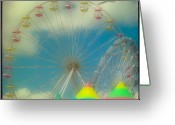 Ferris Wheels Greeting Cards - Seagulls Delight Greeting Card by Gothicolors With Crows