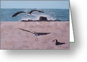 Ocean. Beach Ceramics Greeting Cards - Seagulls Greeting Card by Judith Miller