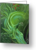 Pastels Pastels Greeting Cards - Seahorse Greeting Card by Kim McElroy