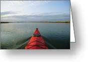 River Scenes Greeting Cards - Seakayak Bow Parts The Rippled Water Greeting Card by Skip Brown