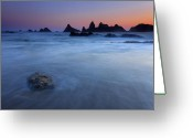 Seal Greeting Cards - Seal Rock Dusk Greeting Card by Mike  Dawson