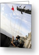 Flag Raising Greeting Cards - Seaman Raises The Foxtrot Flag Greeting Card by Stocktrek Images