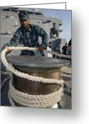 Tying Greeting Cards - Seaman Runs A Mooring Line Greeting Card by Stocktrek Images
