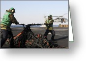 Humanitarian Aid Greeting Cards - Seamen Tighten A Bundle Of Cargo Nets Greeting Card by Stocktrek Images