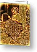 Plaid Skirt Greeting Cards - Seamstress Greeting Card by Alexandra Jordankova