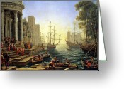 Galleon Greeting Cards - Seaport with the Embarkation of Saint Ursula  Greeting Card by Claude Lorrain