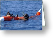 Tying Greeting Cards - Search And Rescue Swimmers Retrieve Greeting Card by Stocktrek Images
