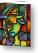 Cubist Greeting Cards - Searching for Eve Greeting Card by Michael Lang