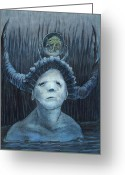 Surrealism Drawings Greeting Cards - Searching in the Big Blue    Greeting Card by Ethan Harris