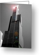 Tall Building Greeting Cards - Sears Tower 2 Greeting Card by BuffaloWorks Photography