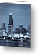 Sebastian Musial Greeting Cards - Sears Tower in Blue Greeting Card by Sebastian Musial