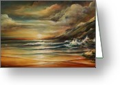 Crashing Waves Greeting Cards - Seascape 3 Greeting Card by Michael Lang
