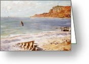 Beaches Greeting Cards - Seascape at Sainte Adresse  Greeting Card by Claude Monet