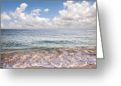 White Clouds Greeting Cards - Seascape Greeting Card by Carlos Caetano