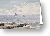 Watercolor On Paper Greeting Cards - Seascape from the Beach Greeting Card by Thomas Churchyard