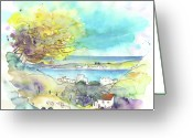 Atlantic Drawings Greeting Cards - Seascape in Portugal 01 Greeting Card by Miki De Goodaboom