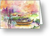 Portugal Art Greeting Cards - Seascape in Portugal 02 Greeting Card by Miki De Goodaboom