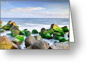 Stack Rock Greeting Cards - Seascape Greeting Card by Teni_mr