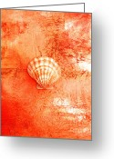 Seashell Art Greeting Cards - Seashell Art Modern Sand Painting Orange TANGERINE BEACH FUN by ARTDESTINY  Greeting Card by Michele Morata