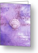 Shell Texture Painting Greeting Cards - Seashell Art Modern Sand Painting Purple LAVENDER BEACH FUN by ARTDESTINY Greeting Card by Michele Morata