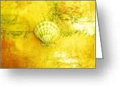 Seashell Art Greeting Cards - Seashell Art Modern Sand Painting Yellow SUNSHINE BEACH FUN by ARTDESTINY Greeting Card by Michele Morata