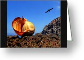 Seashell Art Greeting Cards - Seashell on the rocks Greeting Card by Manolis Tsantakis