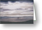 Waves Pastels Greeting Cards - Seaside at Sunset Greeting Card by David Patterson