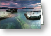 Twilight Greeting Cards - Seaside dusk Greeting Card by Evgeni Dinev