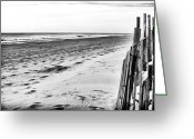 Winter Prints Greeting Cards - Seaside Park Beach Greeting Card by John Rizzuto